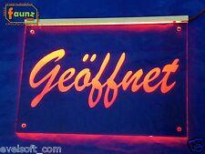 """LED Leuchtschild """"Geöffnet"""" rot opak Geschäft Lokal Laden Kiosk Praxis ©faunz"""