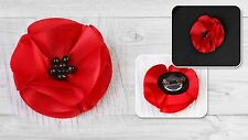 Metal Pin Badge Brooch Silk Red Poppy Memorial Remembrance Day