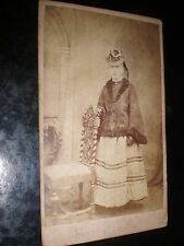 Cdv old photograph woman Mary Anne hamlin stripes cape hat Teignmouth c1860s