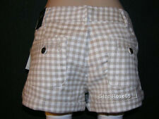 NEW Aeropostale Junior Girls Jimmy Z Tan & White Plaid Shorts Size 0