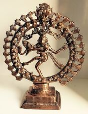 Large 11.5'' x 9'' Bronze Natraj Dancing Shiva Indian God