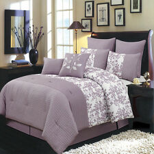 Bliss Comforter Set Floral Purple and White King Size Luxury 8Piece Bed in a Bag