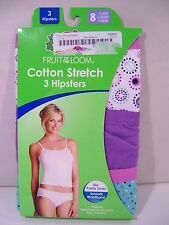 NEW WOMEN'S FRUIT OF THE LOOM 3 PACK COTTON STRETCH HIPSTERS PANTIES SZ 8, XL