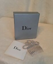 New CHRISTIAN DIOR Silver-tone Seed Pearl And Swarovski Crystal Hair Comb Bridal