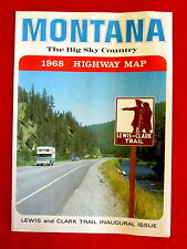 1968 Montana Official Highway Map Lewis and Clark Trail No. 1 Issue ms3c