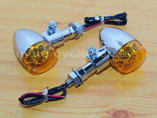 Chrome 9 LED Bullet Turn Signal Amber Light Harley Honda Yamaha Suzuki Kawasaki