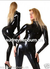 Latex Rubber Black Catsuit Full-body Bodysuit Fashion Cool Suit Size XS- XXL