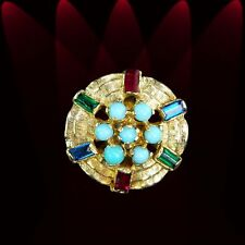 Vividly exotic yellow gold estate ring, turquoise, red, blue, green rings M-F