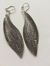 SILPADA W2281 NEW! Sterling Silver Engraved Floral Flower Freestyle  Earrings