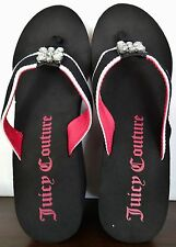 Juicy Couture Black & Pink Flip Flops Sandals Summer Shoes Rhinestone L 9/10