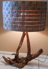 MID CENTURY RETRO 1950'S 1960'S DRIFTWOOD LARGE TABLE LAMP ORIG WOVEN WOOD SHADE