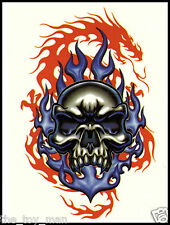 EVIL BLUE SKULL RED DRAGON TEMPORARY TATTOO~ARM BACK NECK LEG BODY~PUNK GOTH EMO