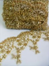 "4.5"" Metallic Gold  Sequins Beads Embro Flowers Fringe Scallop Lace Trim -T1181"