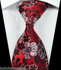 New Classic Florals Red Black Pink JACQUARD WOVEN 100% Silk Men's Tie Necktie