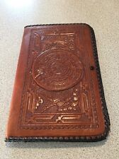 Vintage Hand Tooled Aztec Mexican Leather Portfolio Briefcase Wallet Clutch