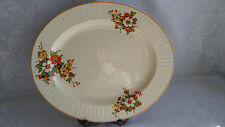 LARGE BURLEIGH WARE BELVEDERE IVORY OVAL SERVING PLATE PLATTER ORANGE FLOWERS