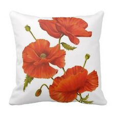 Poppy Cushion Cover Modern Red Flower Pillow Case New Canvas Throw Pillows 18x18