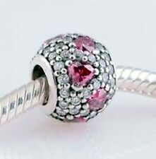 CLEAR CRYSTAL PAVE w ROSE PINK HEARTS   .925 Sterling Silver European Charm Bead