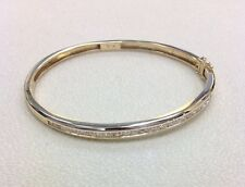 14k Yellow Gold 3/4 tcw G/SI Natural Round Diamond Channel Set Bangle Bracelet