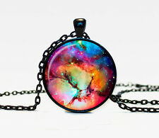 New Galaxy Charm Glass Dome Cabochon Black Chain Necklace Pendant #1