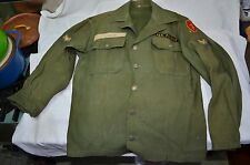 VINTAGE ORIGINAL KOREAN WAR HERRINGBONE  13 STARS BUTTON US ARMY SHIRT SZ LRG