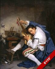 ANTIQUE JAMMING GUITAR PLAYER GUITARIST 1700'S PAINTING ART REAL CANVAS PRINT