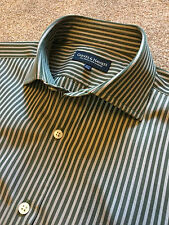 GIEVES & HAWKES BRITISH RACING GREEN BENGAL STRIPE SHIRT 15.5  39 COST £125