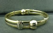 Authentic Sauro Unisex 18K Yellow And White Gold Made In Italy Bangle Bracelet