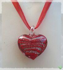Pendentif Coeur Danah Argent Et Rouge Verre Soufflé Style Murano