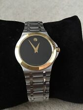 Movado 0606960 Men's Stainless Steel Watch Black Dial Gold-Tone Bezel