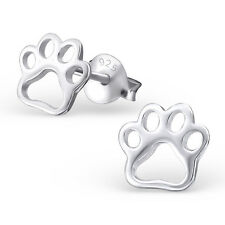 Sterling Silver 925 Flat Dog / Cat Paw Print Stud Earrings