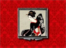 GEISHA PIN UP GIRL KIMONO ASIAN TATSUMI VINTAGE ART MAKEUP POCKET COMPACT MIRROR