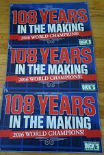 RARE 3 LOT DICK'S CHICAGO CUBS WORLD SERIES MIDNIGHT BANNER SIGN 108 YEARS 2016
