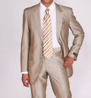 Men's Luxurious Two Button Slim Fit Wool Feel Suit 57021B Solid Tan (Beige)