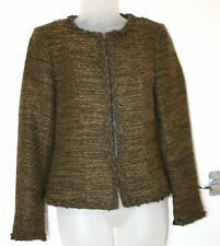 Per Una UK8 EU36 green tweed edge-edge fasten long-sleeved jacket with 28% wool