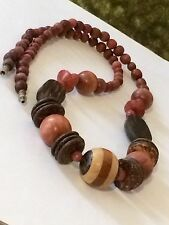 Nice Wood & Coconut Shell Beaded Necklace