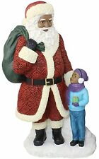 "SANTA WITH BOY  African American Santa Claus Christmas Figurine, 10.5"" Tall"
