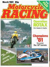 Motorcycle Racing Mar 1981 Rotax Keith Huewen Ballington Virginio Ferrari Lawson