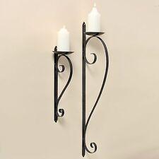 Wand Kerzenleuchter 46cm Höhe Eisen Dunkelgrau Wandkerzenhalter Metall