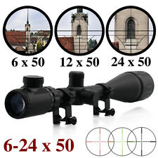 Professional 6-24X50 Hunting Rifle Scope Sight with 20mm Ring Mounts UK STOCK