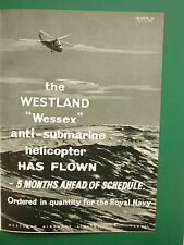 7/1958 PUB WESTLAND AIRCRAFT WESSEX HELICOPTERE ROYAL NAVY FLEET / ARMSTRONG AD
