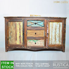RUSTICA Reclaimed Recycled boat timber wood 160cm LARGE sideboard buffet hutch