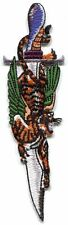 TIGER on dagger EMBROIDERED IRON-ON PATCH **Free Shipping** -c p3677 tattoo art