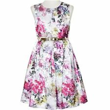 GIRLS size 16 lined FLORAL Party DRESS with silver belt NEW  Formal graduation