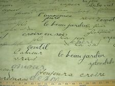 "~20 YDS~WAVERLY~""FRENCH SCRIPT WRITING""~COTTON UPHOLSTERY FABRIC FOR LESS~"