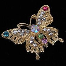 Plaqué Or Vintage insecte papillon Broche strass cristal bijoux des femmes