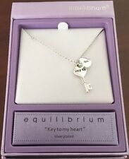 Equilibrium Silver Plated Key To My Heart Necklace in Gift Box 54430