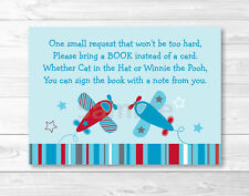 Airplane Blue & Red Aviator Printable Baby Shower Book Request Cards