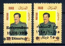 IRAQ 1995 surcharged overprint Referendum Day Saddam SC 1499 - 1500 1500a MNH