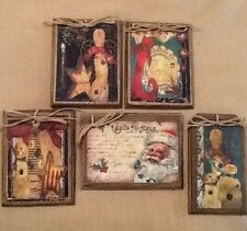 5 WOOD PriM Country Christmas Ornaments,HangTags,Winter Ornies HANDCRAFTED SET'4